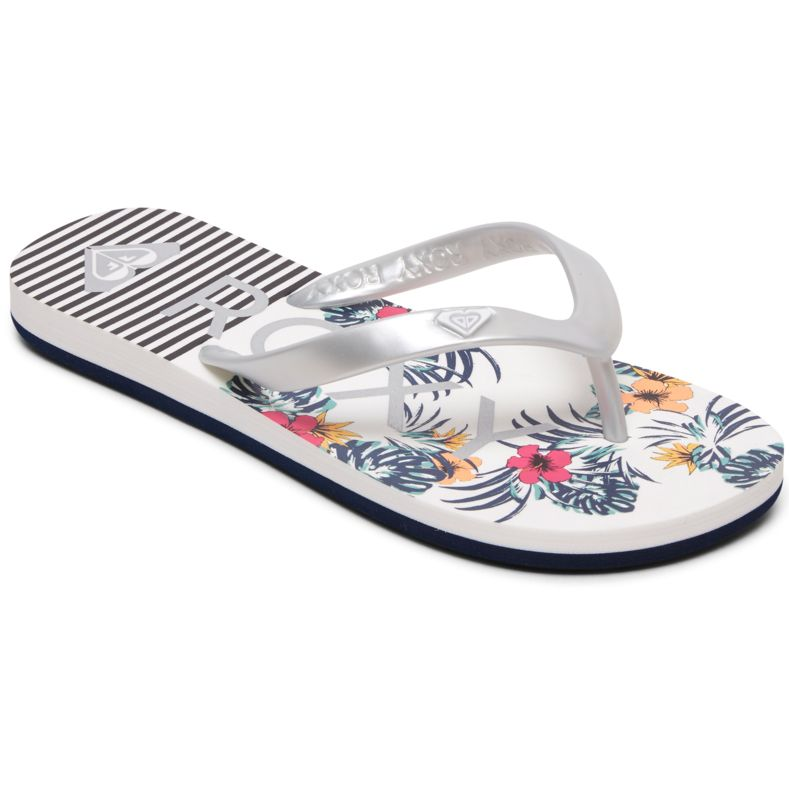 Silver Roxy Viva Tone Flip Flops Ladies Flip Flops