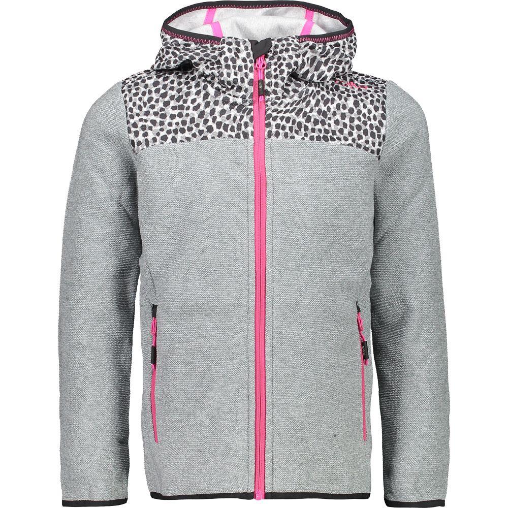 Fix Hood Knitted Fleece Jacket Girls cemento