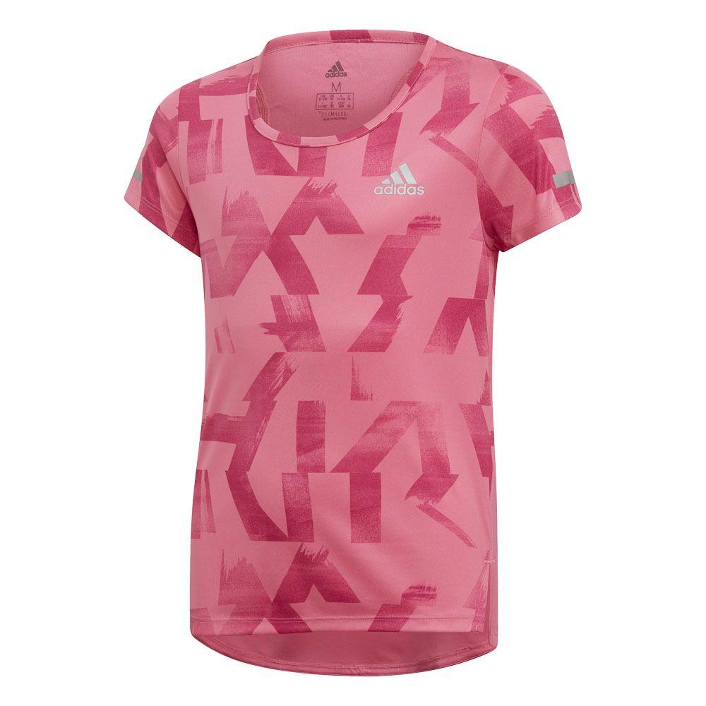 adidas Run Running Shirt Girls semi solar pink real magenta reflective silver