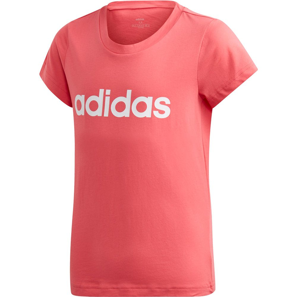 adidas Essentials Linear T shirt Girls real pink white