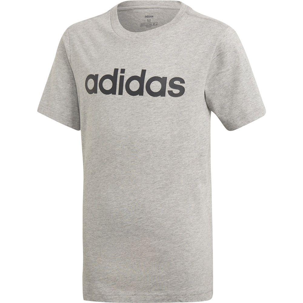 adidas Essentials Linear Logo T Shirt Jungen medium grey heather black