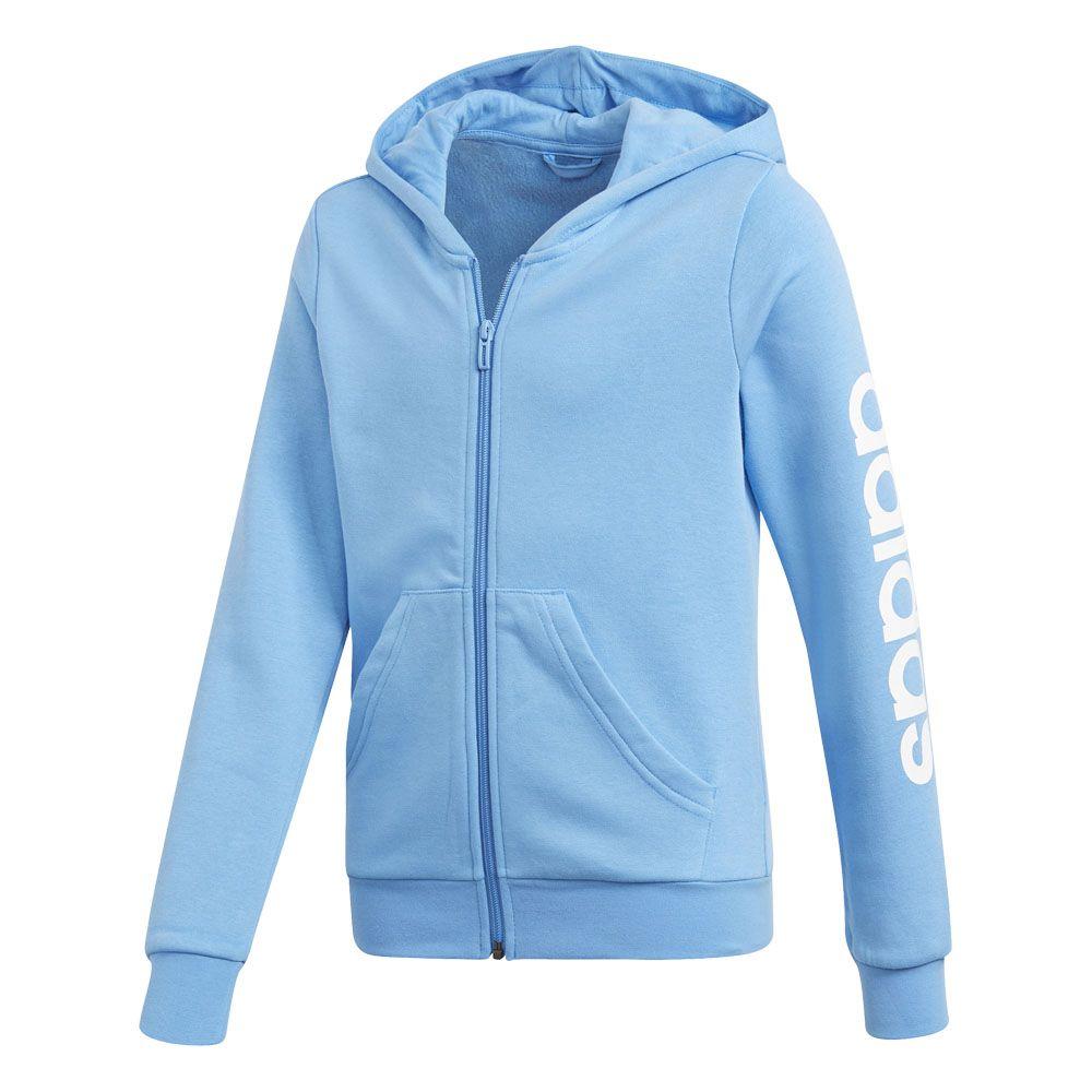 Adidas Core Kids Sports Training Jacket Essentials 3S Full Zip Hoodie Blue
