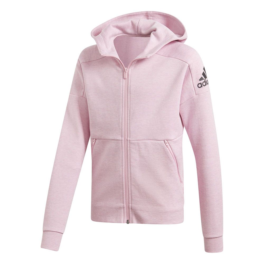 adidas ID Stadium Kapuzenjacke Mädchen true pink grey six black