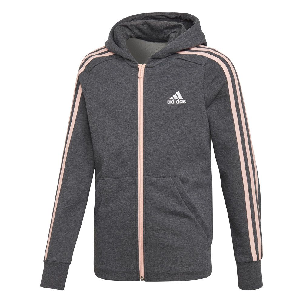 adidas Essentials 3 Stripes Full Zip Hoodie Girls dark