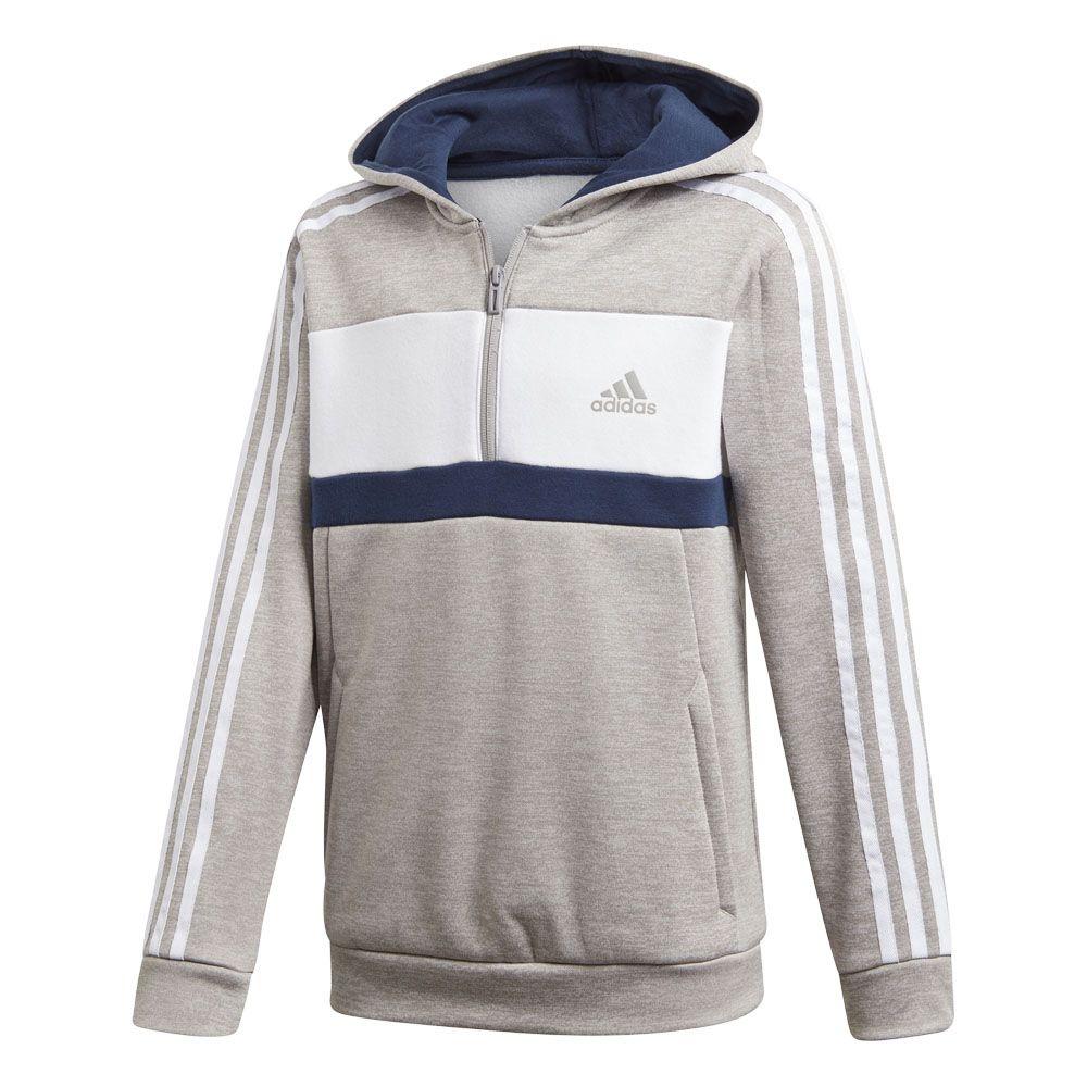 adidas Sport ID Half Zip Fleecehoodie Jungen mgh solid grey white collegiate navy