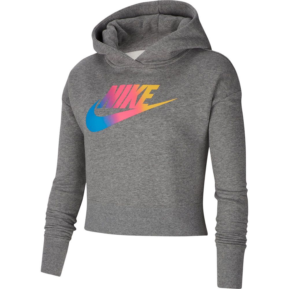 Nike Sportswear Crop Hoodie Kinder carbon heather white