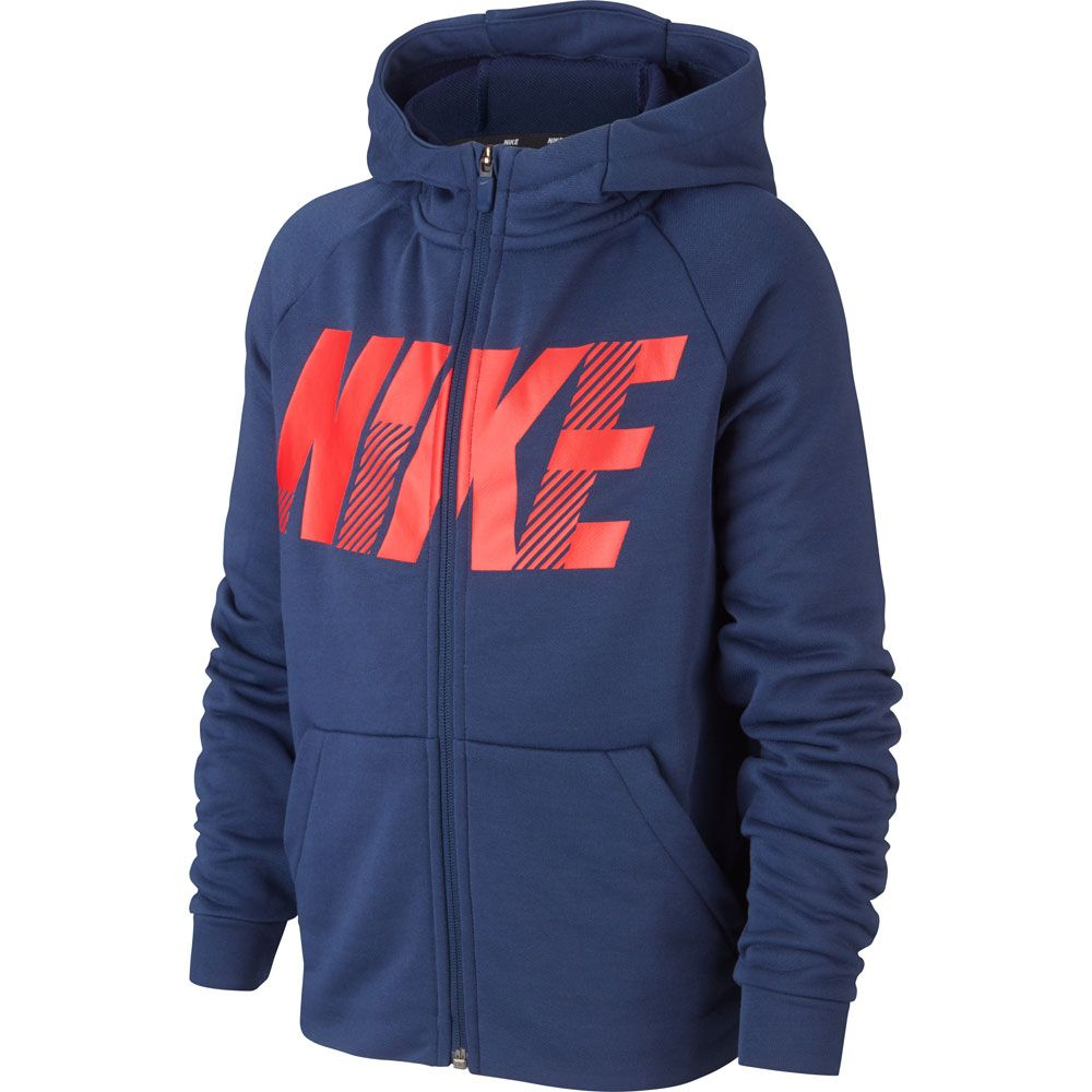 Nike Dri FIT Graphic Full Zip Hoodie Kids midnight navy university red