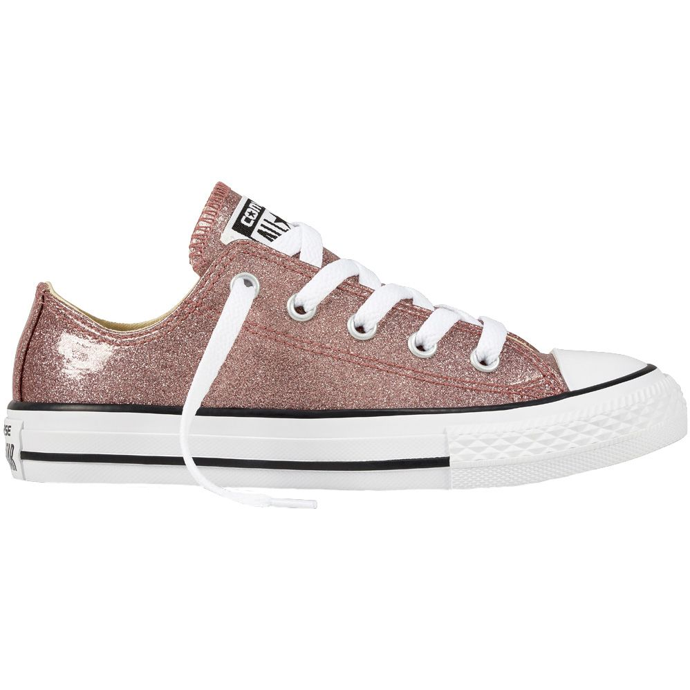 c0d5abc5d902 Converse Chuck Taylor All Star Glitter Lace Up Shoe Girls rose gold natural  white
