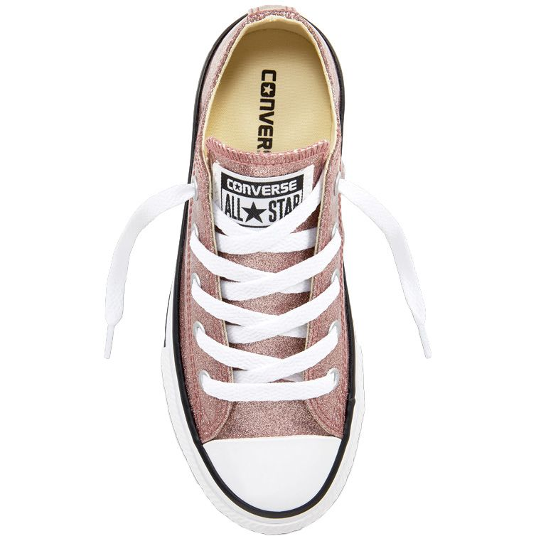 05c48bb4c52819 Chuck Taylor All Star Glitter Lace Up Shoe Girls rose gold natural white.  Converse