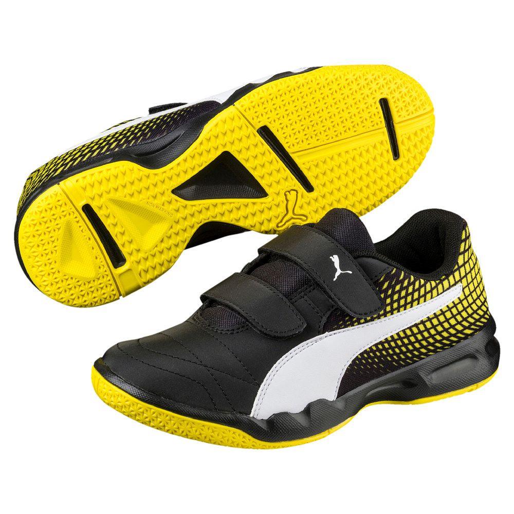 Puma Veloz Indoor III NG V JR indoor shoes kids puma black puma white  blazing yellow eb299c9fed1ad