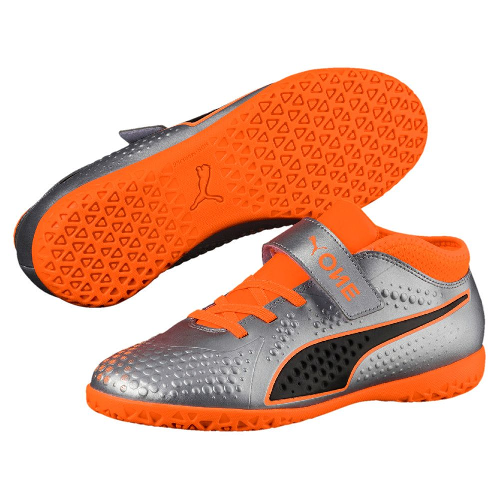 51508f060214 One 4 Syn IT V Jr. Football Shoes puma silver shocking orange puma black