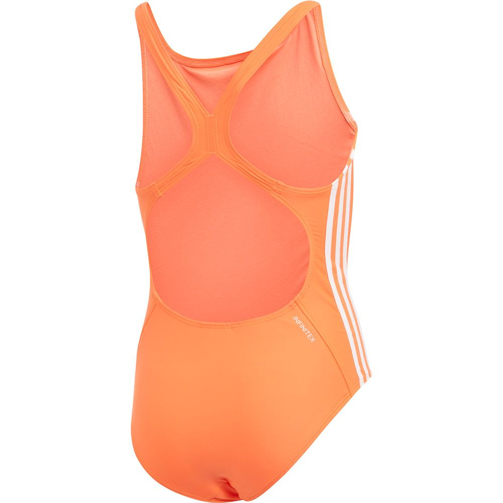 adidas Athly V 3 Streifen Badeanzug Mädchen hi res coral