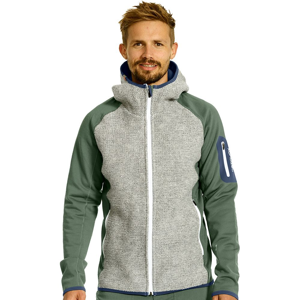 Fleece Plus Classic Knit Hoody Men green forest