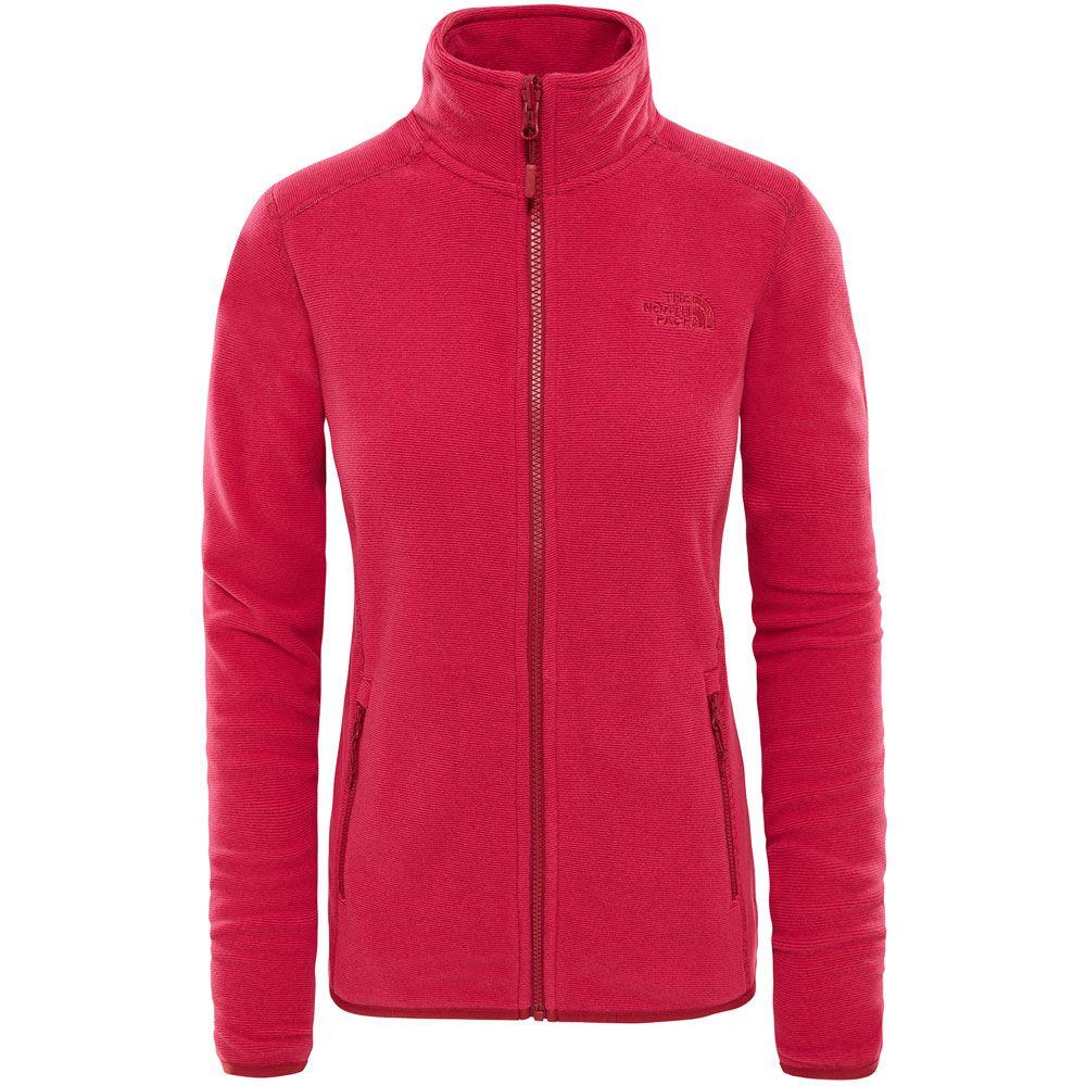 The North Face Women's Zermatt Full Zip Hoodie Fleecejacke Picante Red Dark Heather | XS