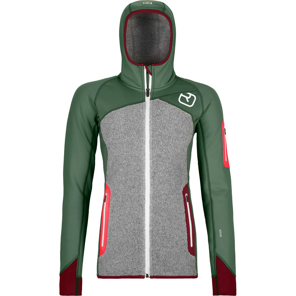 Ortovox Fleece Plus Hoody Fleece Jacket Women Green Forest At Sport Bittl Shop