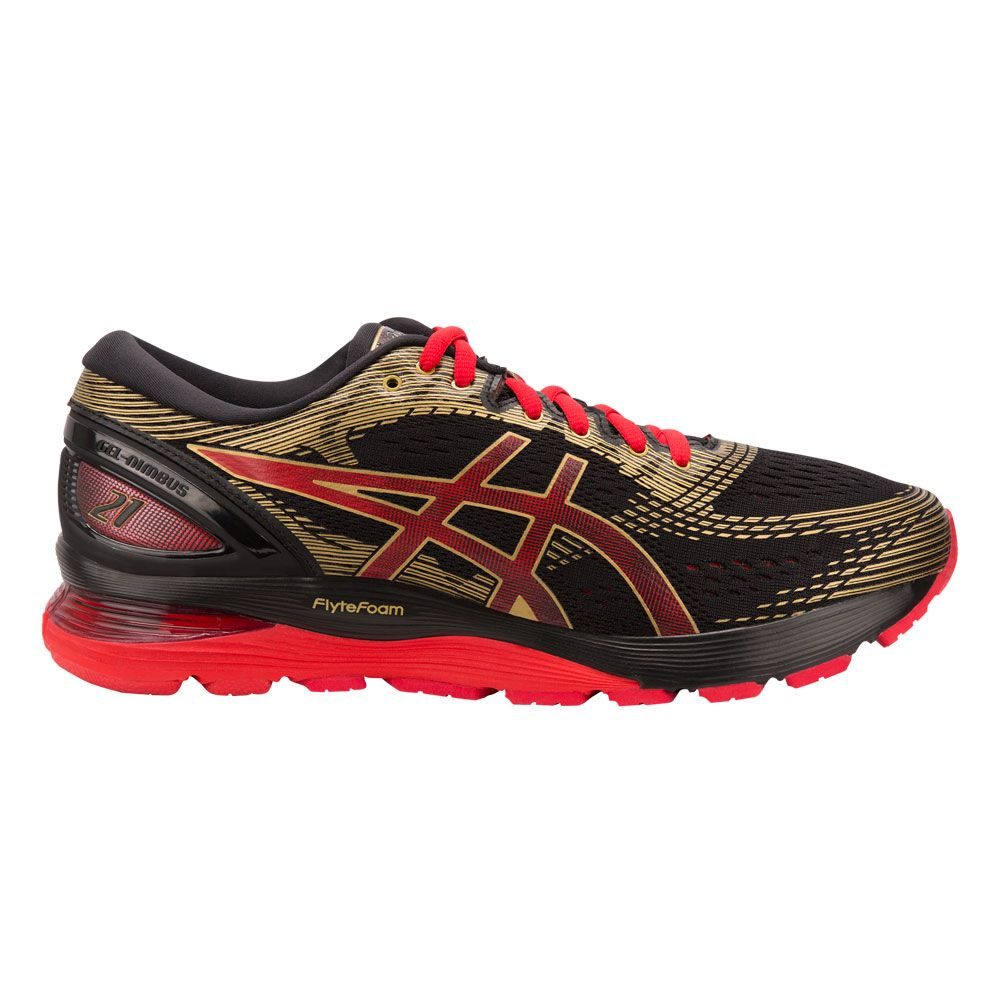 best website bc27c ed652 ASICS - GEL-Nimbus 21 Running Shoes Men black classic red