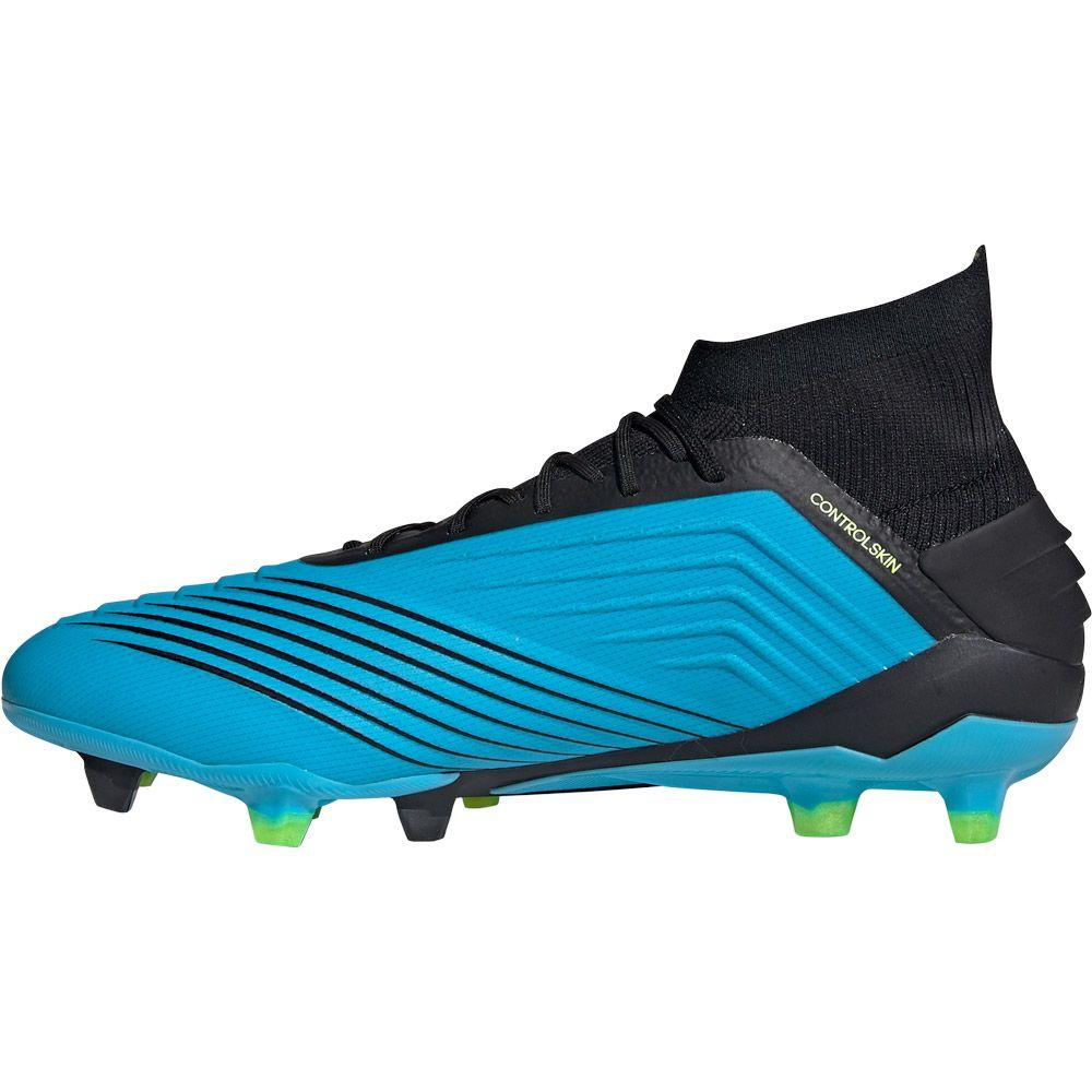adidas Predator 19.1 FG Football Shoes Men bright cyan core black solar yellow