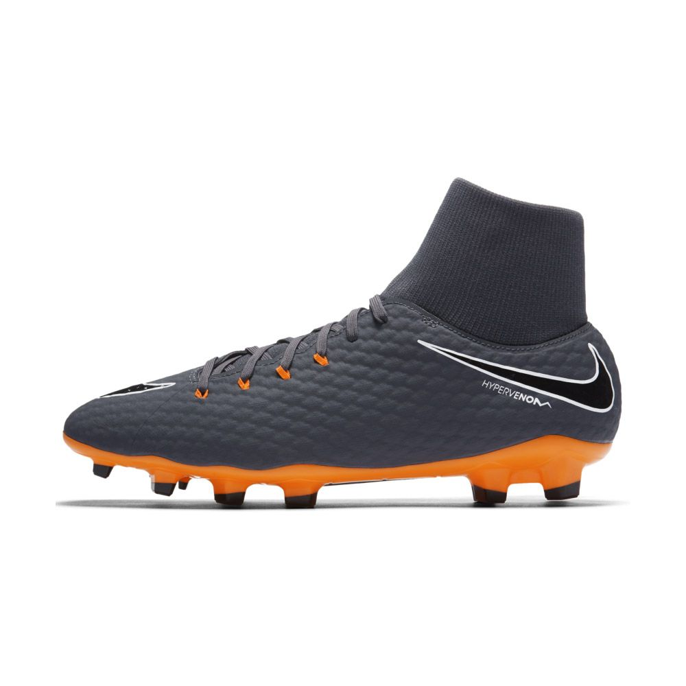 Hypervenom Phantom III Academy Dynamic Fit FG Football Boots Men dark grey white total orange
