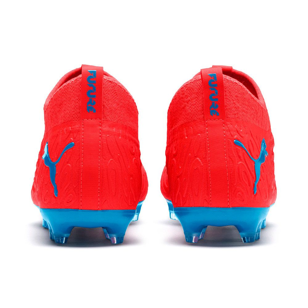 Puma Future 19 3 Netfit Fg Ag Football Shoes Men Red Blast Bleu Azur