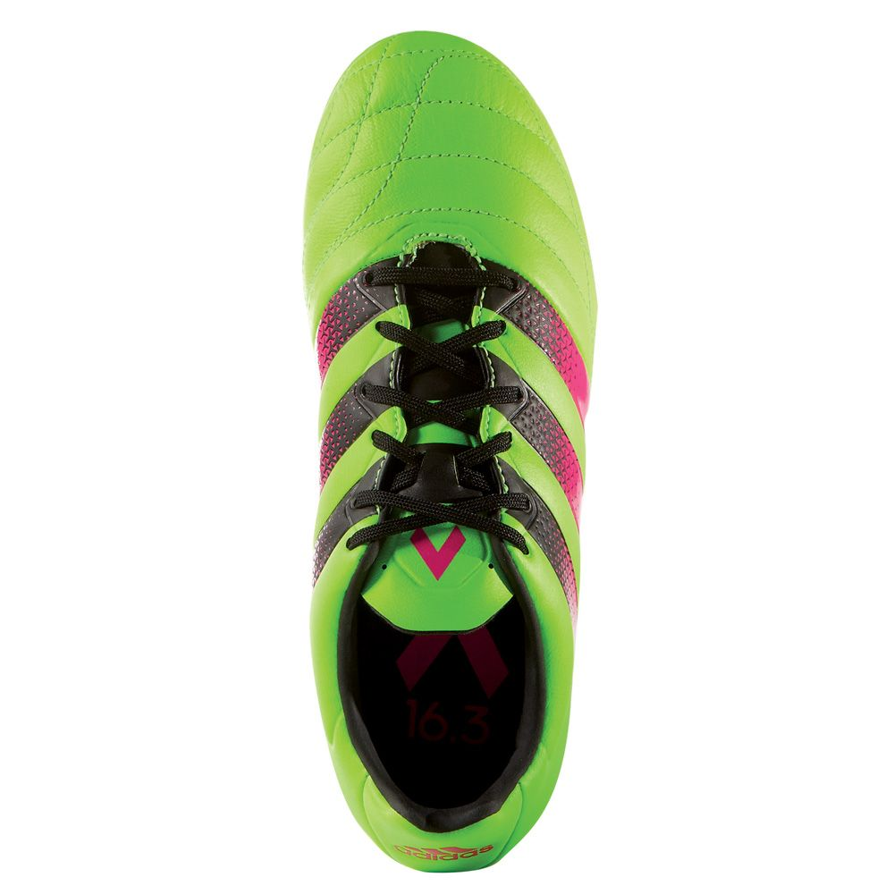 Adidas Ace 16.3 Leather Trainers Mens Shoes Solar Green