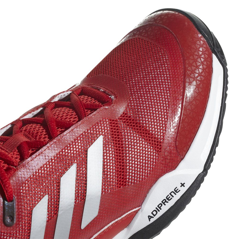 adidas Barricade Club Clay Tennis Shoes Men scarlet matte silver footwear white