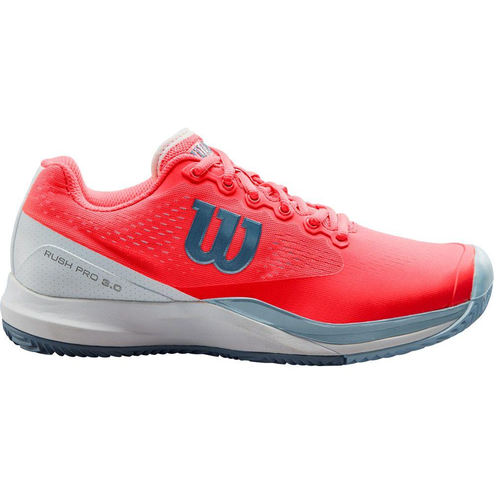 Wilson Rush Pro 3.0 Clay Court Tennisschuhe Damen fiery coral white cashmere blue