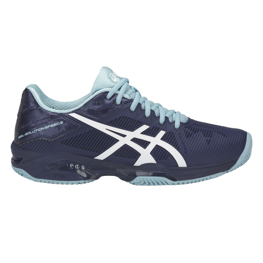 Asics Womens Gel-Court Speed Tennis Shoes Blue White Sports Breathable Trainers