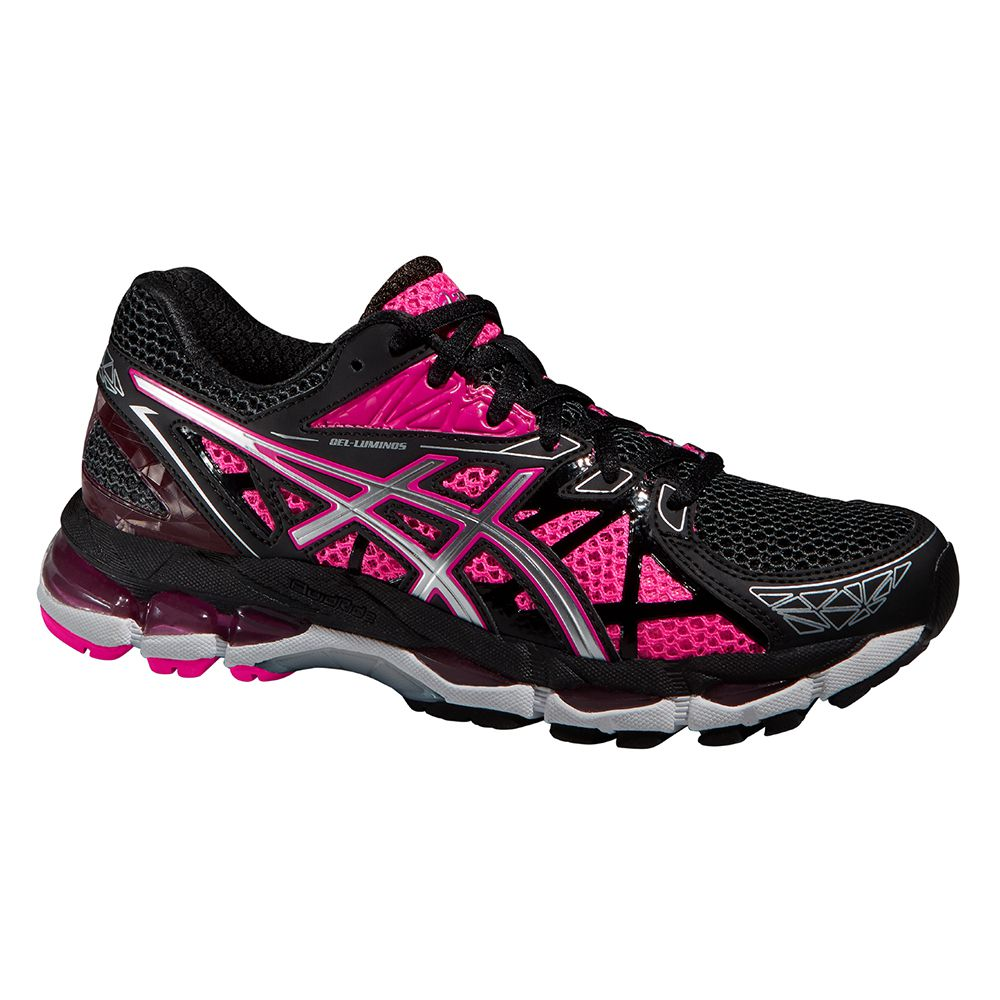 black and pink asics running shoes
