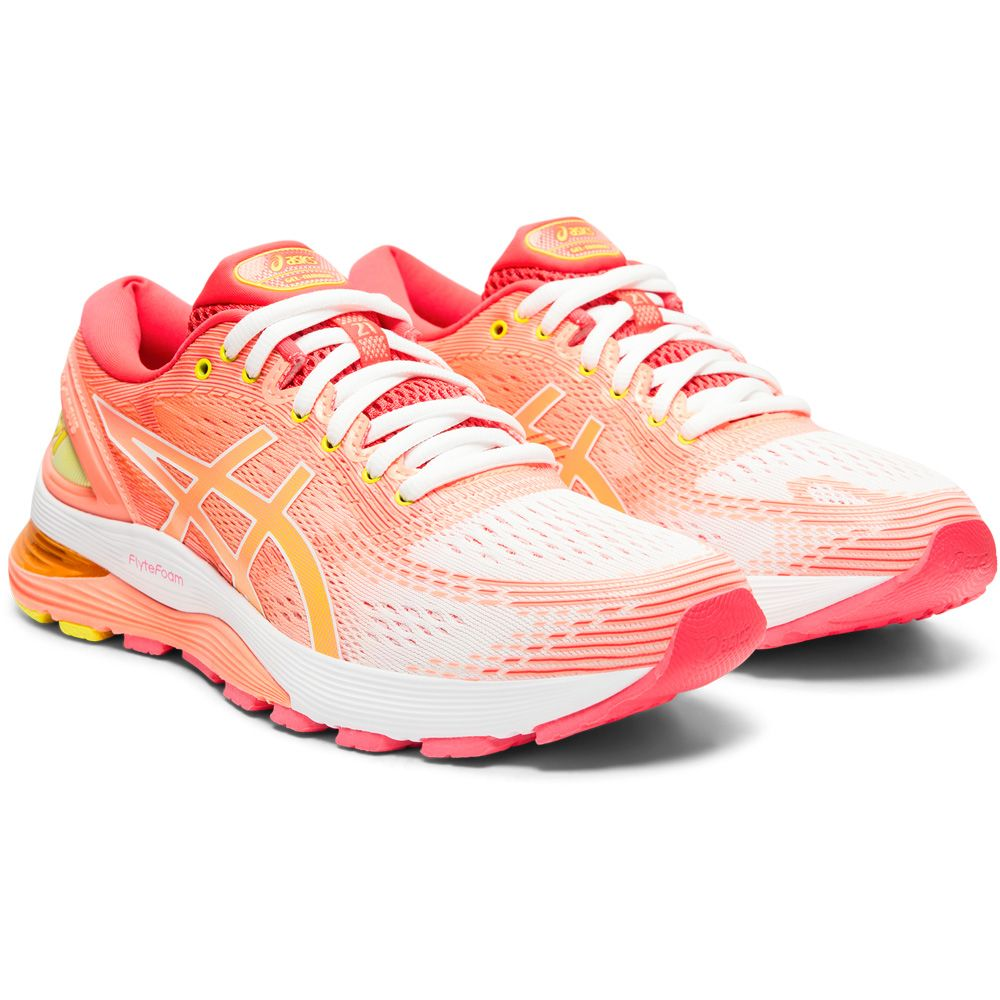 ASICS - Gel-Nimbus 21 Shine Running Shoes Women white sun coral