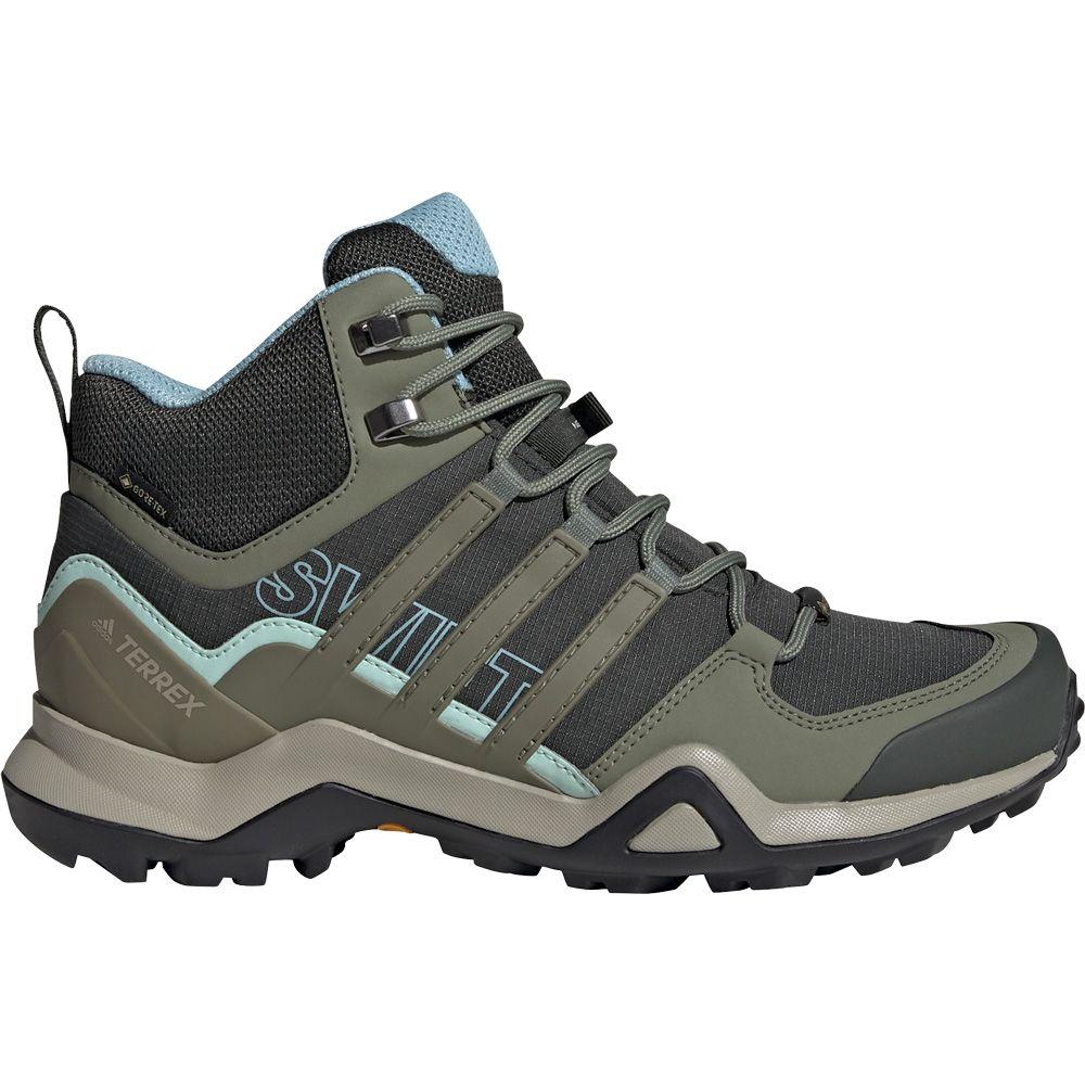 adidas - Terrex Swift R2 Mid Gore-Tex Hiking Shoes Women legend earth  legacy green ash grey