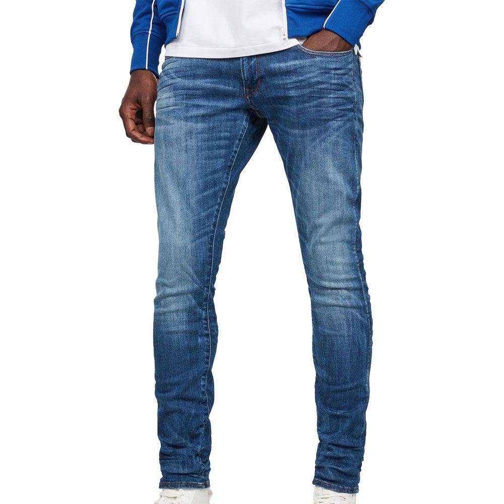 Mens Slim Skinny Jeans Classic Casual Regular Fit Denim Black Indigo Medium Blue