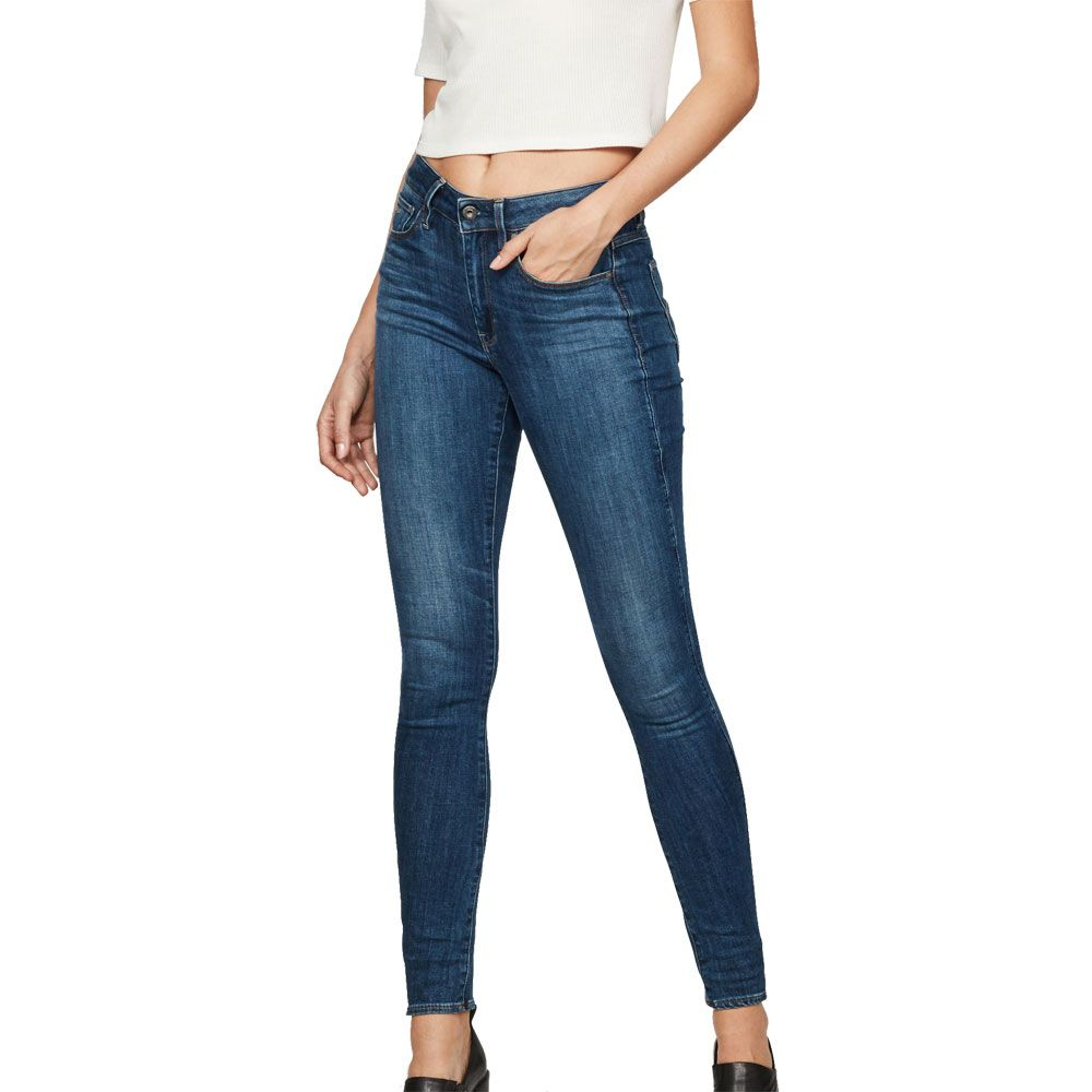 Blau G-Star Damen Jeans Lynn Mid Waist Skinny Fit Medium Aged
