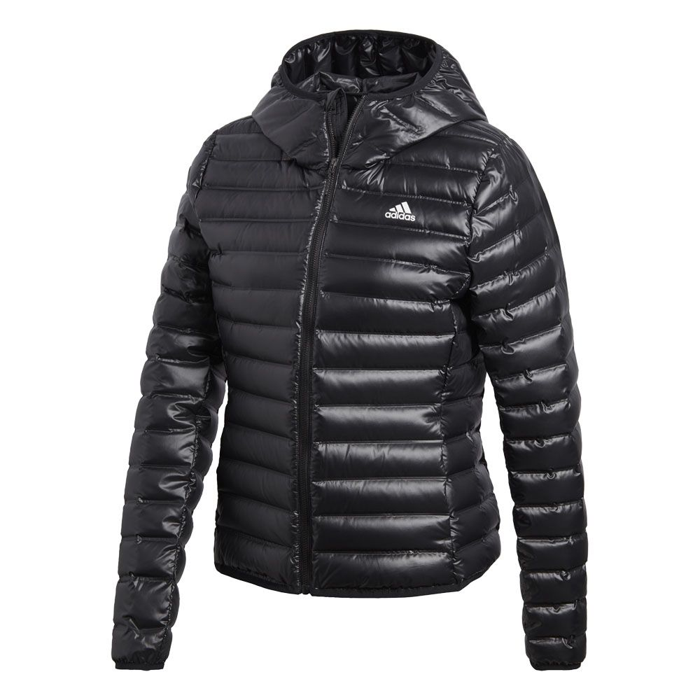 adidas - Varilite Hooded Down Jacket Women black at Sport ...