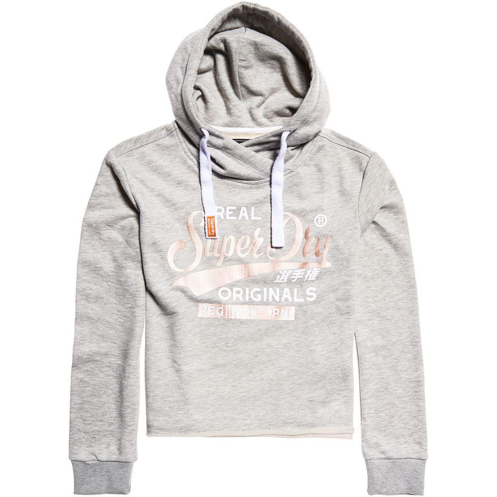 online retailer af039 df5de Superdry - Real Originals Crop Hoodie Women grey melange