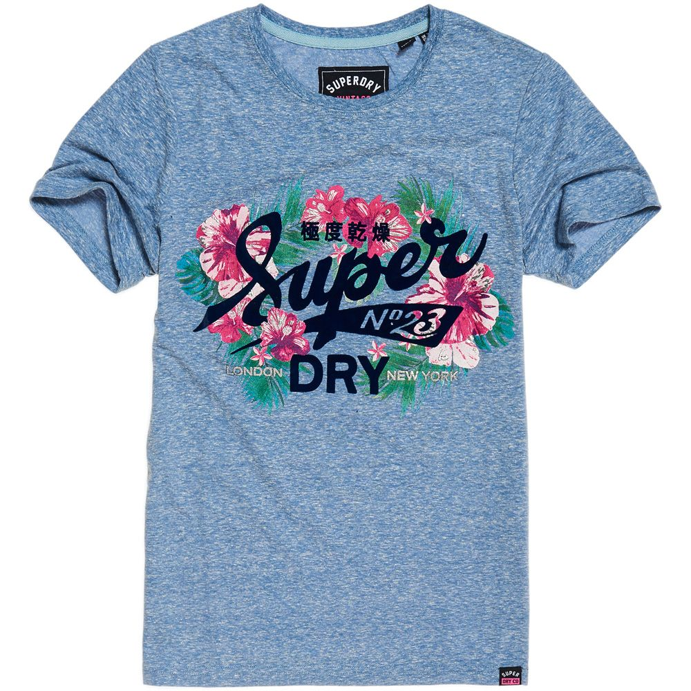 Superdry Womens Vintage Logo Tropical T-Shirt in White or Navy
