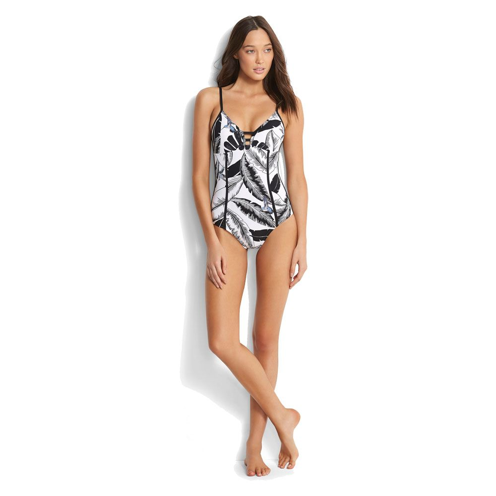 4c7c107670 Seafolly - Palm Beach Maillot Swimsuit Women black at Sport Bittl Shop