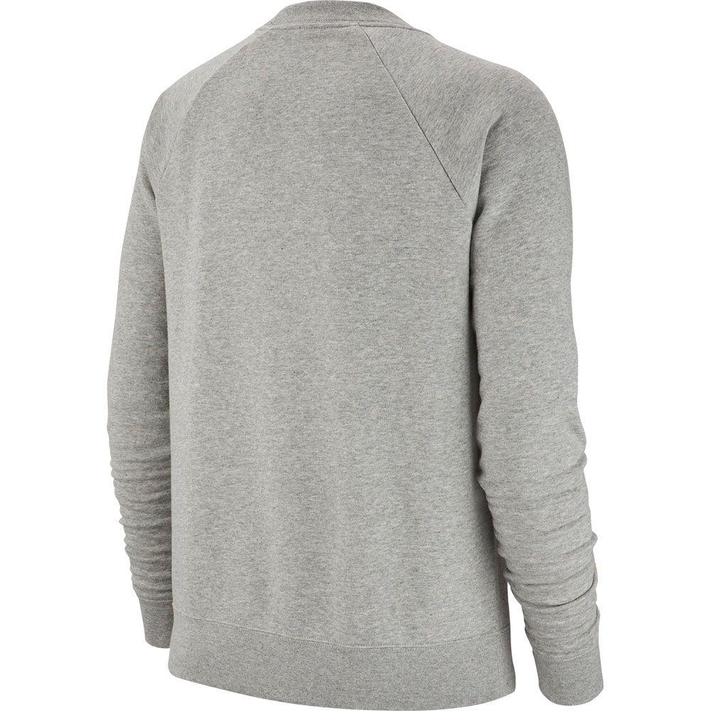 new product 57dc2 7dfcc Nike - Sportswear Essential Fleece Crew Sweatshirt Damen dunkelgrau meliert  weiß