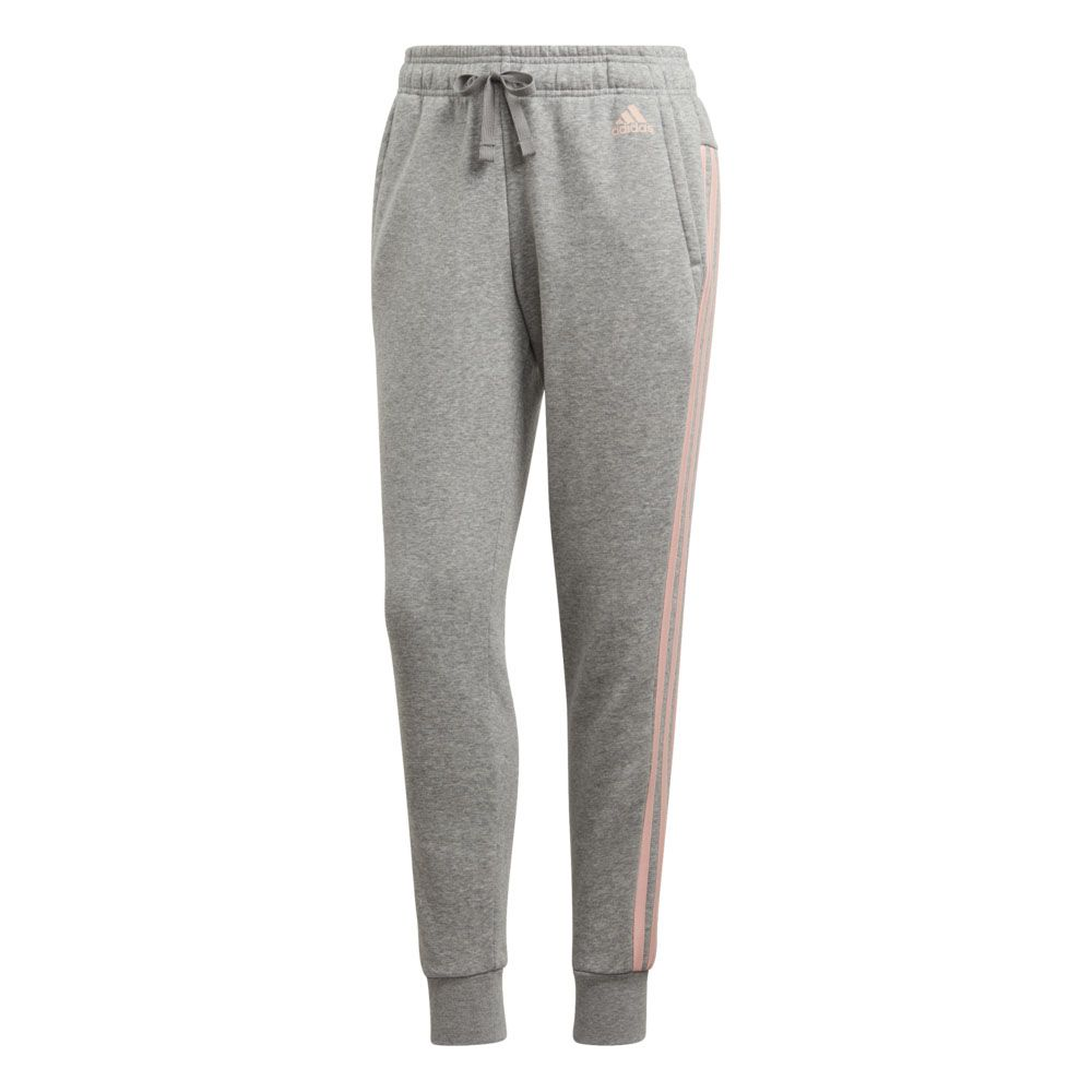 6447e24173558b Essentials 3-Streifen Tapered Trainingshose Damen medium grey heather haze  coral