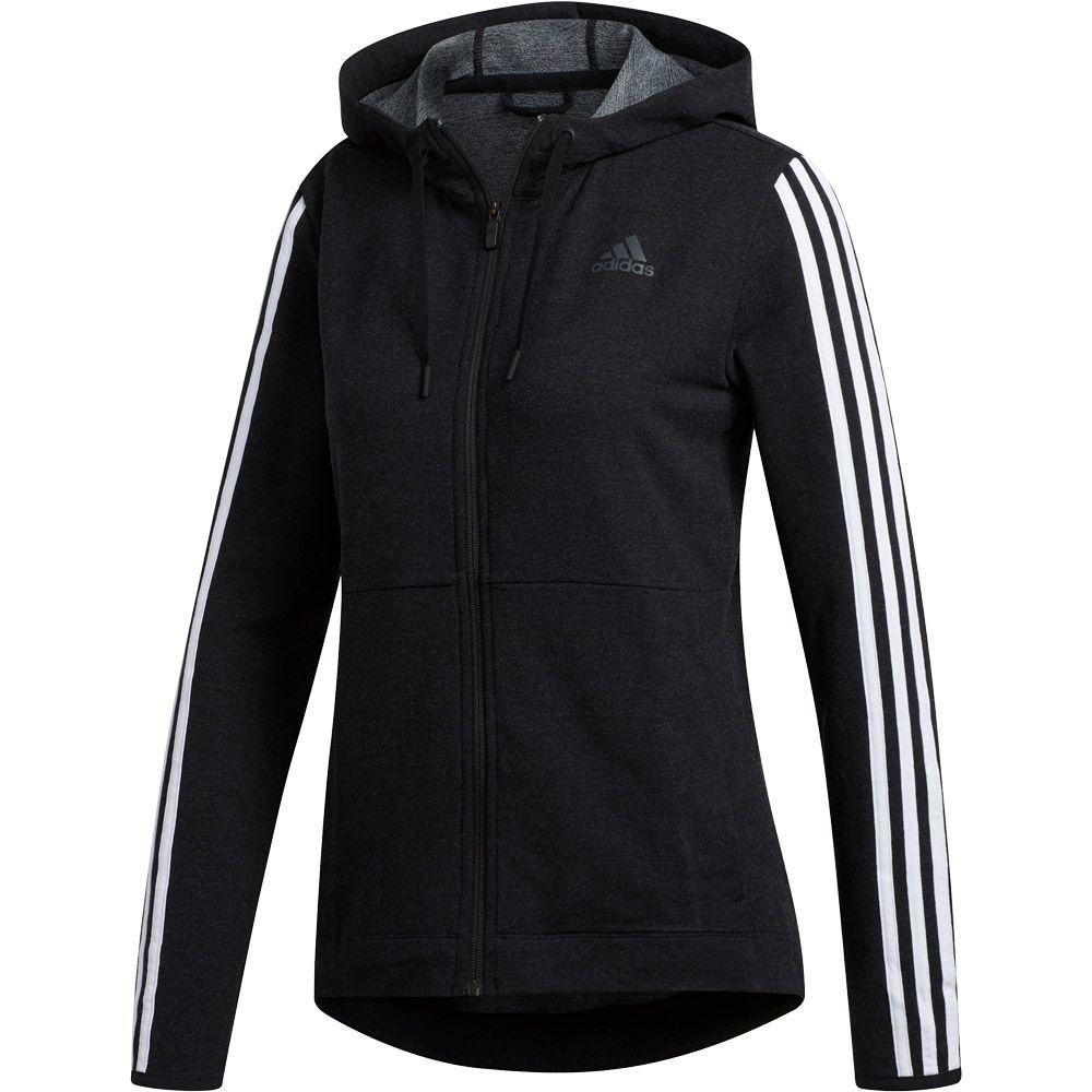 adidas - 3-Stripes Hooded Jacket Women black white at Sport ...