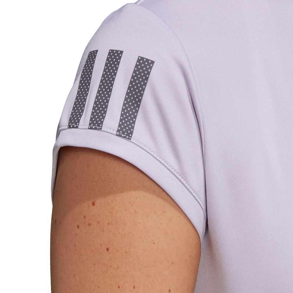 adidas 3 Stripes Club T shirt Women purple tint grey six