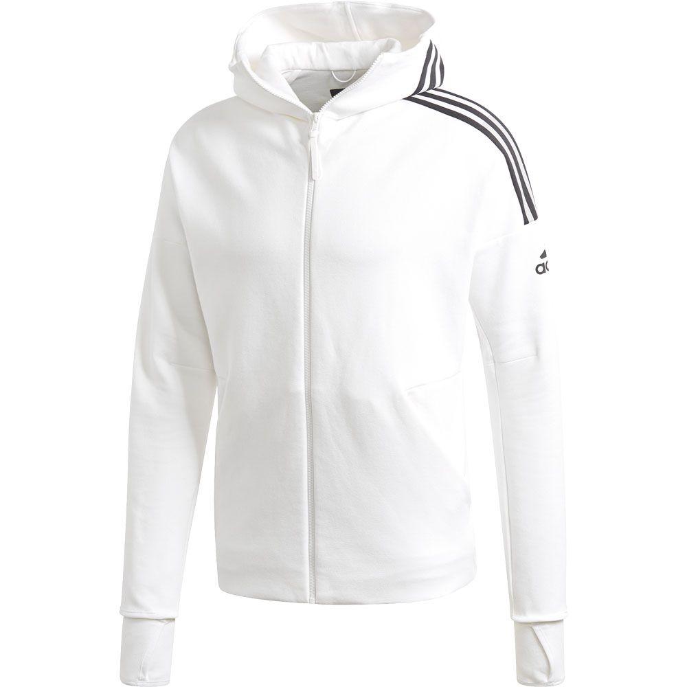 white adidas jacket with black stripes