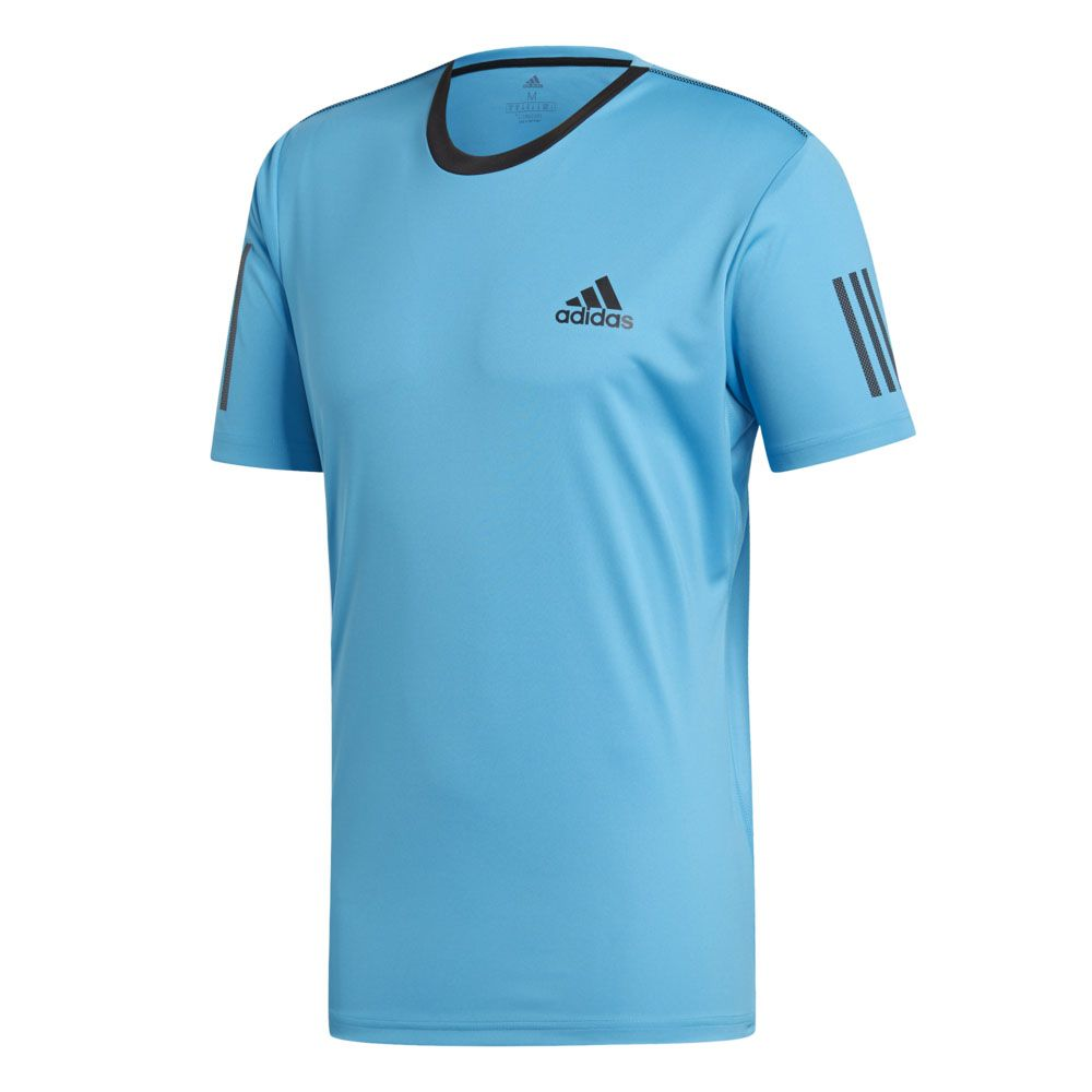 adidas 3 Stripes Club T shirt Men shock cyan black