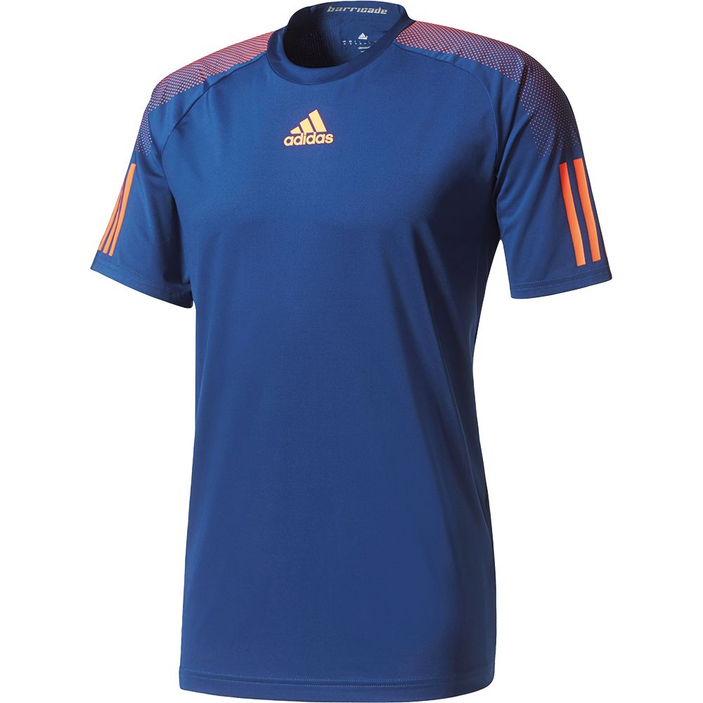 adidas Barricade T Shirt Herren mystery blue glow orange