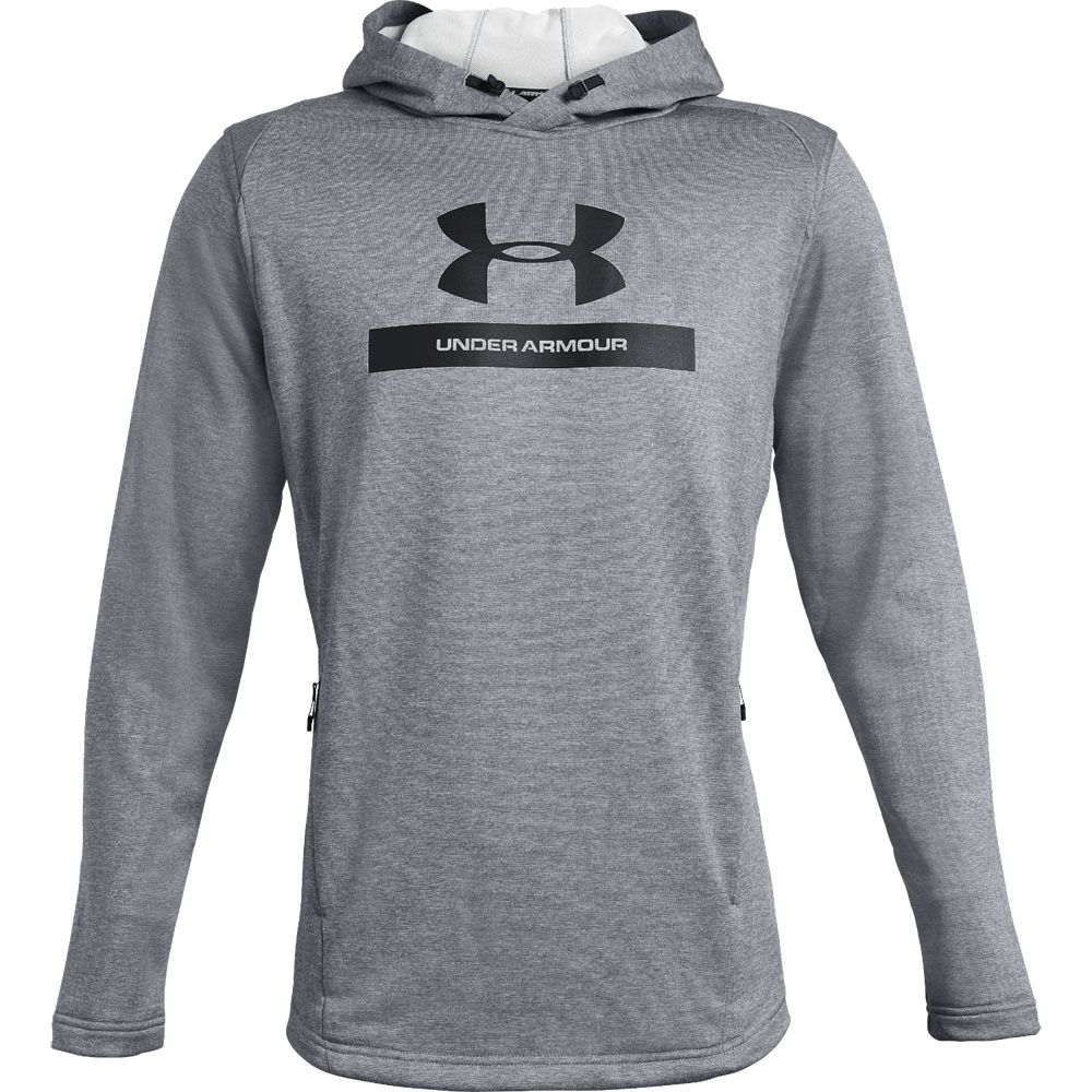 Under Armour Mens MK-1 Terry Graphic Hoodie Grey Sports Gym Hooded Warm