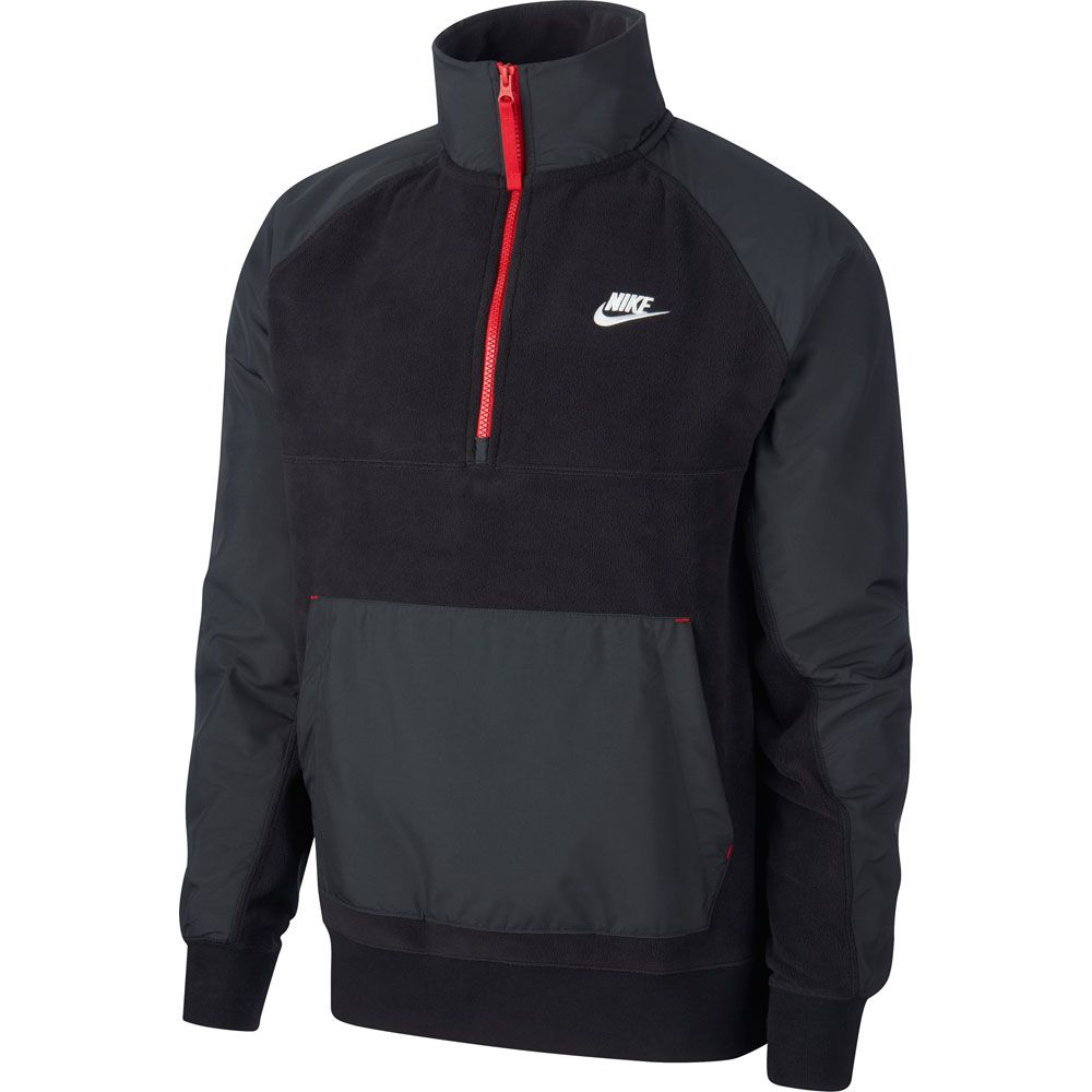 Hacer bien Conquistar Sarabo árabe  Nike - Sportswear Half-Zip Sweatshirt Men black off noir gym red white at  Sport Bittl Shop