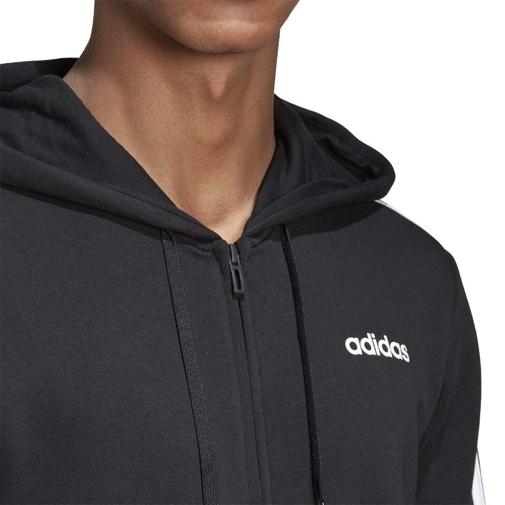 adidas Essentials 3 Streifen Fleece Kapuzenjacke Herren schwarz weiß
