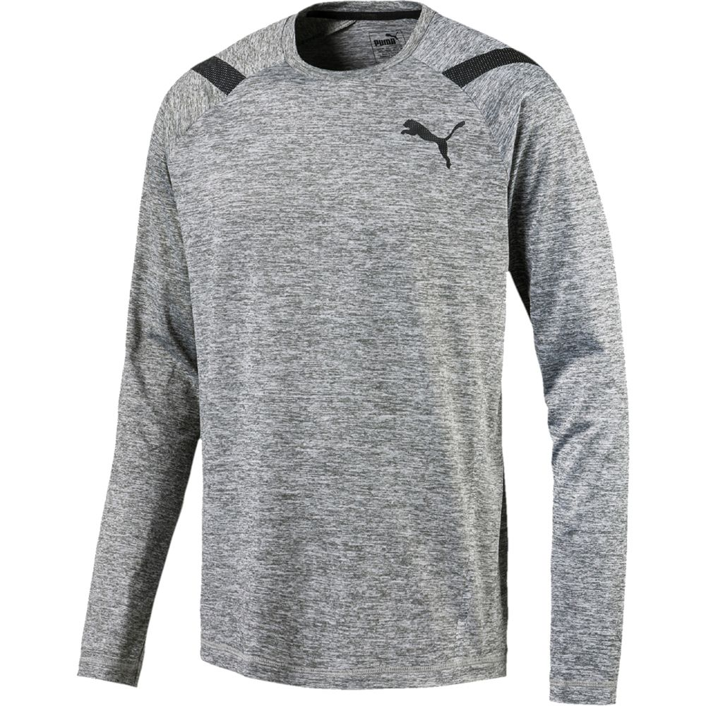 Puma - Bonded Tech Long Sleeve Tee Men medium grey heather at Sport ... c534baa27