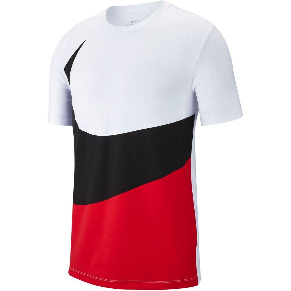 Nike white Shirt red Swoosh university T Sportswear Herren zVqUMSp