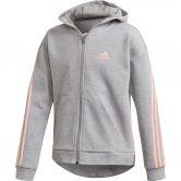 adidas - 3-Streifen Kapuzenjacke Mädchen medium grey heather haze coral