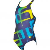 Arena - Scrawl Swimsuit Girls navy yellow star